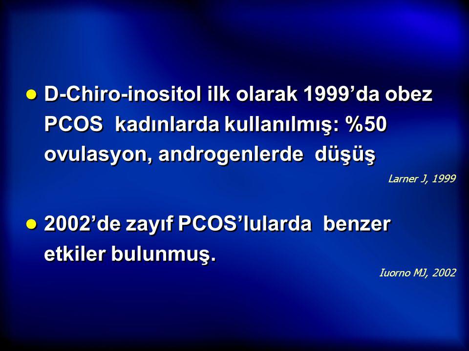 ● D-Chiro-inositol ilk olarak 1999'da obez PCOS kadınlarda kullanılmış: %50 ovulasyon, androgenlerde düşüş ● 2002'de zayıf PCOS'lularda benzer etkiler