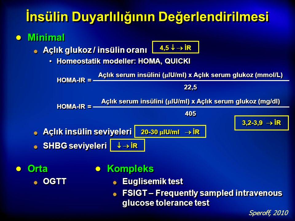 İnsülin Duyarlılığının Değerlendirilmesi ● Minimal Açlık glukoz / insülin oranı Homeostatik modeller: HOMA, QUICKI ● Minimal Açlık glukoz / insülin or