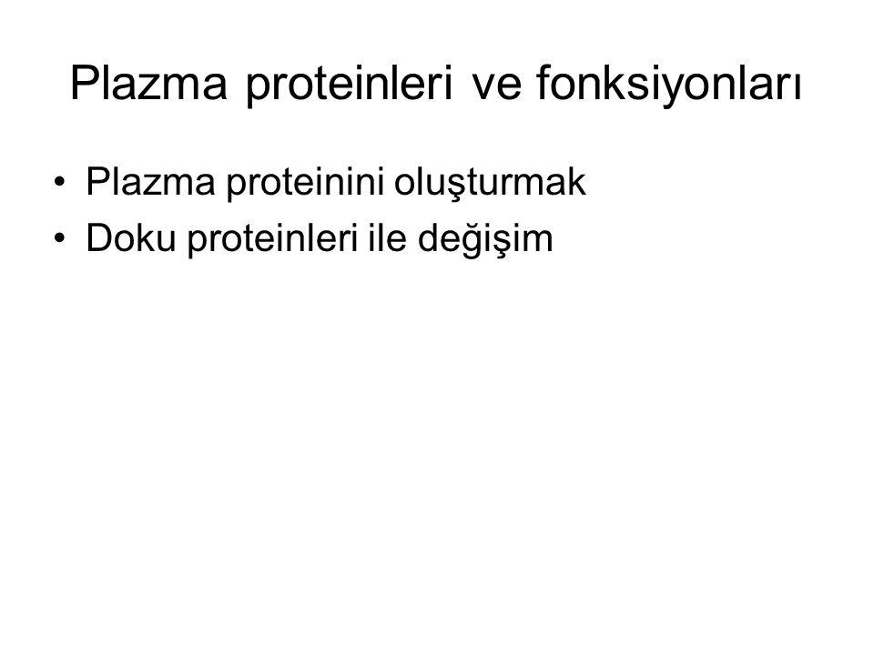 Plazma proteinleri ve fonksiyonları Plazma proteinini oluşturmak Doku proteinleri ile değişim