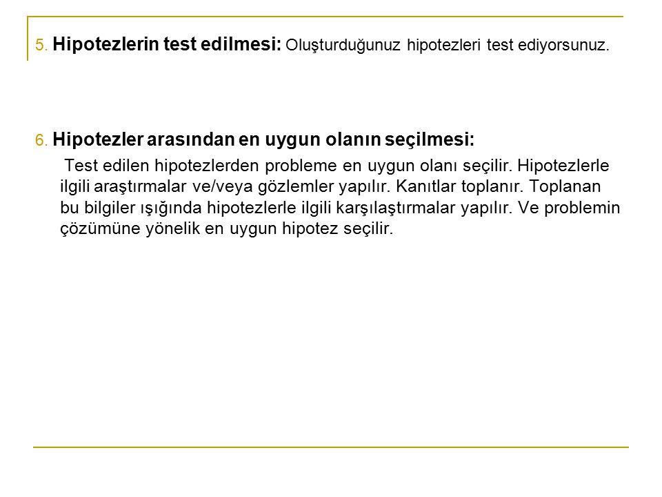 5. Hipotezlerin test edilmesi: Oluşturduğunuz hipotezleri test ediyorsunuz. 6. Hipotezler arasından en uygun olanın seçilmesi: Test edilen hipotezlerd