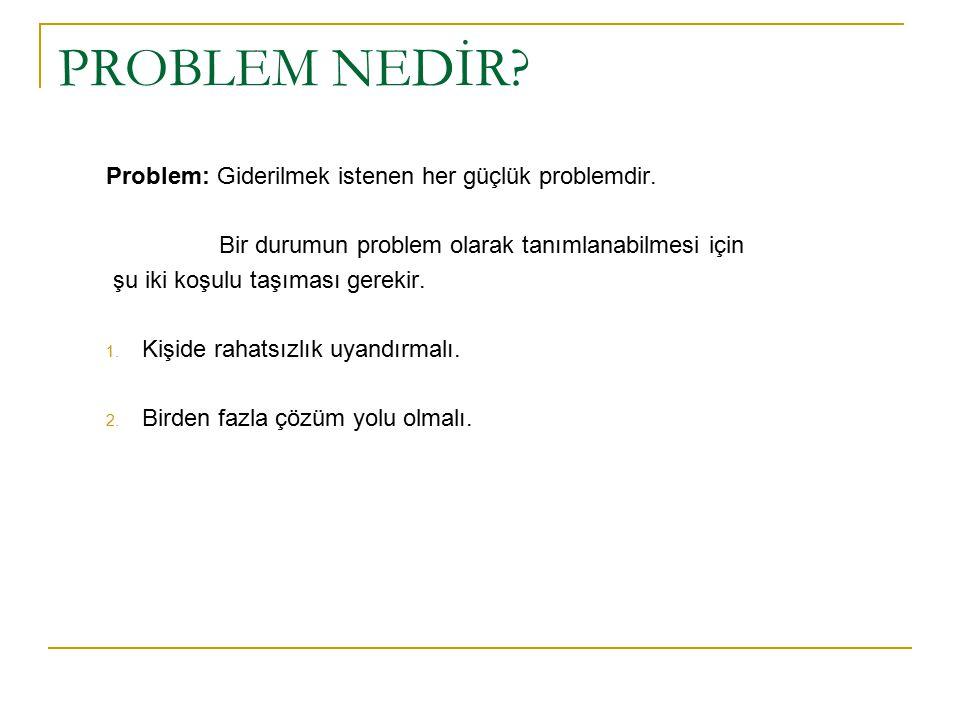 PROBLEM NEDİR? Problem: Giderilmek istenen her güçlük problemdir. Bir durumun problem olarak tanımlanabilmesi için şu iki koşulu taşıması gerekir. 1.