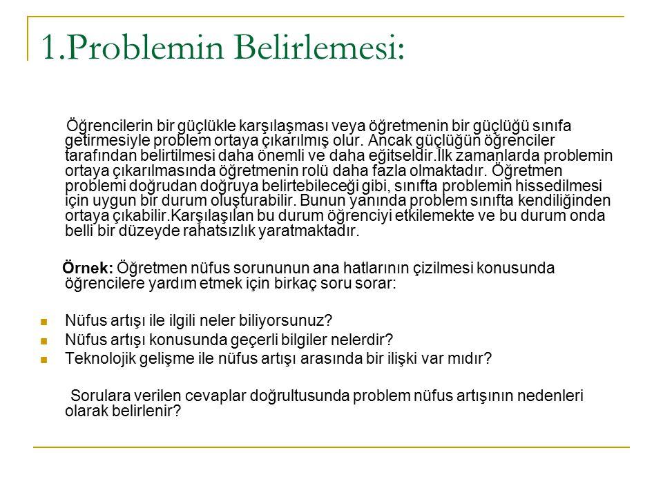 1.Problemin Belirlemesi: Öğrencilerin bir güçlükle karşılaşması veya öğretmenin bir güçlüğü sınıfa getirmesiyle problem ortaya çıkarılmış olur. Ancak
