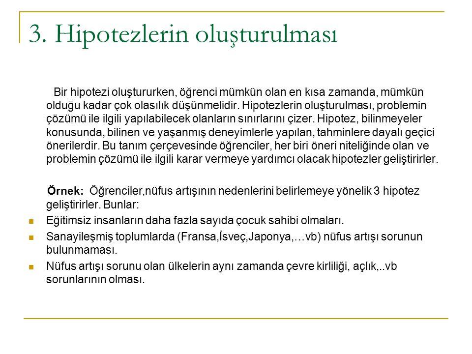 3. Hipotezlerin oluşturulması Bir hipotezi oluştururken, öğrenci mümkün olan en kısa zamanda, mümkün olduğu kadar çok olasılık düşünmelidir. Hipotezle