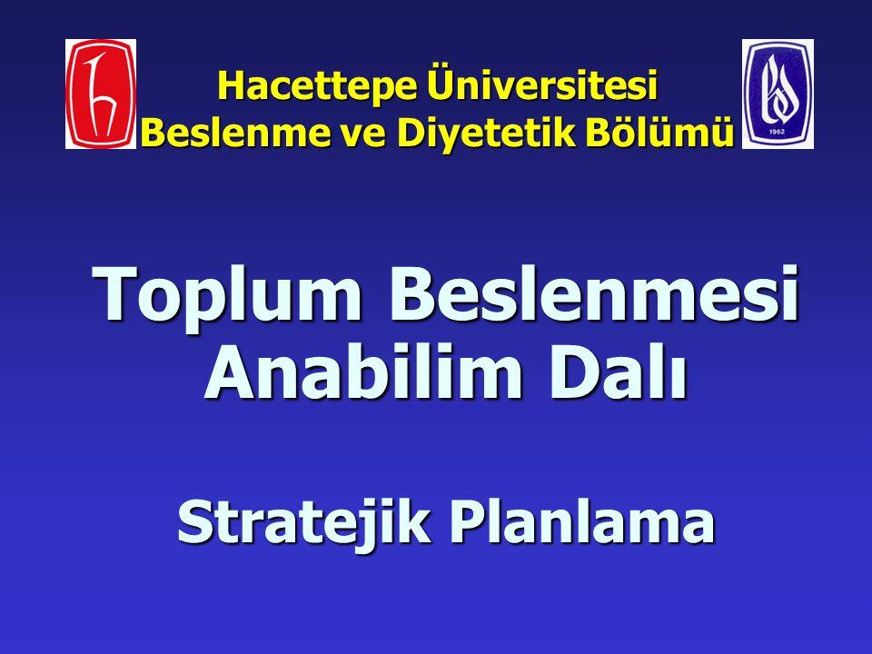 Hacettepe Üniversitesi Beslenme ve Diyetetik Bölümü Toplum Beslenmesi Anabilim Dalı Stratejik Planlama