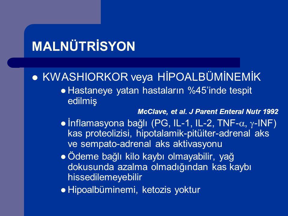MALNÜTRİSYON KWASHIORKOR veya HİPOALBÜMİNEMİK Hastaneye yatan hastaların %45'inde tespit edilmiş McClave, et al.