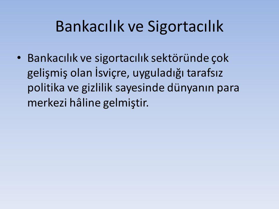 Bankacılık ve Sigortacılık Bankacılık ve sigortacılık sektöründe çok gelişmiş olan İsviçre, uyguladığı tarafsız politika ve gizlilik sayesinde dünyanı