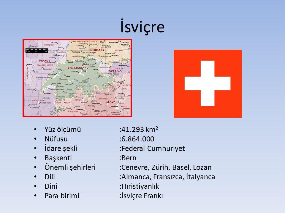 İsviçre Yüz ölçümü:41.293 km 2 Nüfusu:6.864.000 İdare şekli:Federal Cumhuriyet Başkenti:Bern Önemli şehirleri :Cenevre, Zürih, Basel, Lozan Dili:Almanca, Fransızca, İtalyanca Dini:Hıristiyanlık Para birimi:İsviçre Frankı