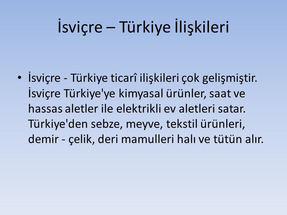 İsviçre – Türkiye İlişkileri İsviçre - Türkiye ticarî ilişkileri çok gelişmiştir. İsviçre Türkiye'ye kimyasal ürünler, saat ve hassas aletler ile elek