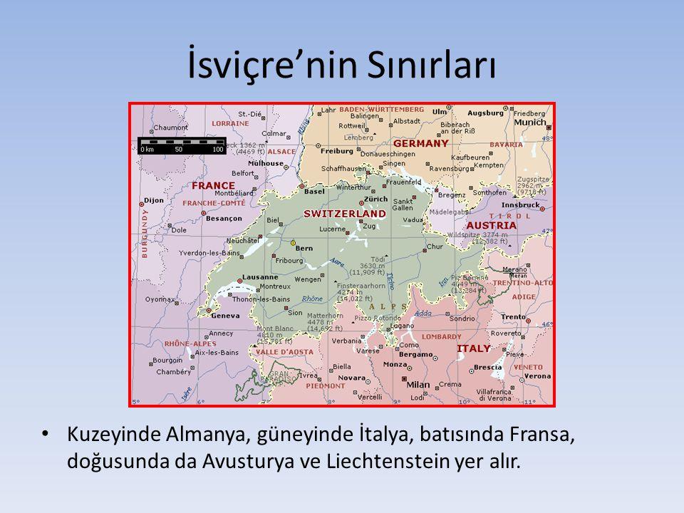 İsviçre'nin Sınırları Kuzeyinde Almanya, güneyinde İtalya, batısında Fransa, doğusunda da Avusturya ve Liechtenstein yer alır.