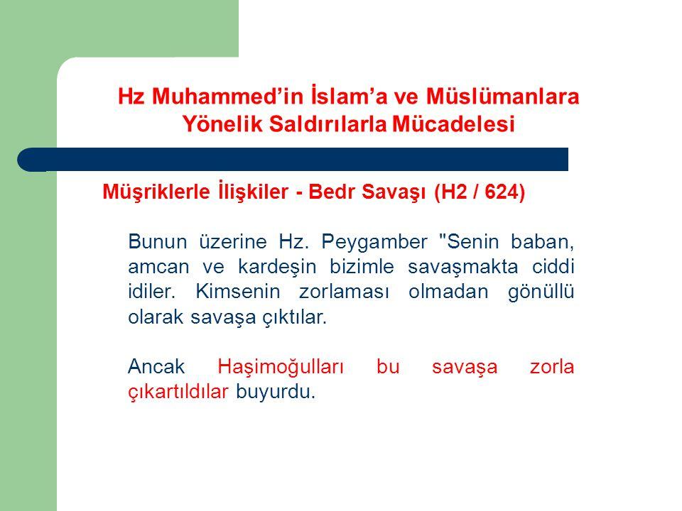 Hz Muhammed'in İslam'a ve Müslümanlara Yönelik Saldırılarla Mücadelesi Müşriklerle İlişkiler - Bedr Savaşı (H2 / 624) Bunun üzerine Hz. Peygamber