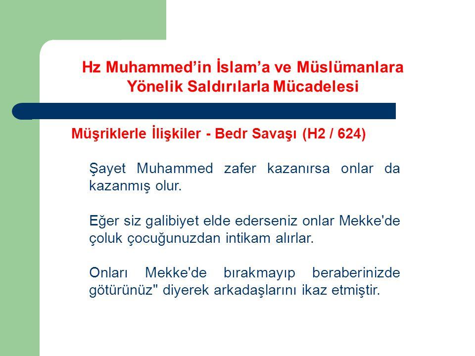 Hz Muhammed'in İslam'a ve Müslümanlara Yönelik Saldırılarla Mücadelesi Müşriklerle İlişkiler - Bedr Savaşı (H2 / 624) Şayet Muhammed zafer kazanırsa o