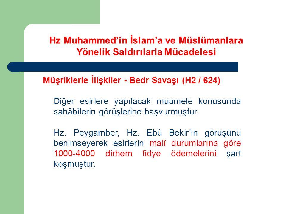 Hz Muhammed'in İslam'a ve Müslümanlara Yönelik Saldırılarla Mücadelesi Müşriklerle İlişkiler - Bedr Savaşı (H2 / 624) Diğer esirlere yapılacak muamele