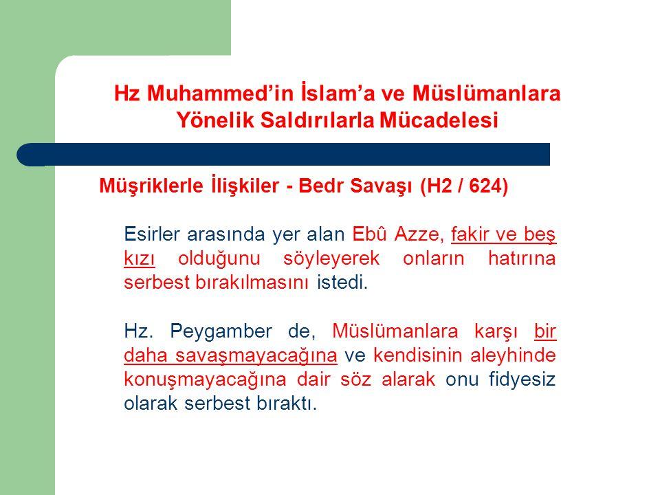 Hz Muhammed'in İslam'a ve Müslümanlara Yönelik Saldırılarla Mücadelesi Müşriklerle İlişkiler - Bedr Savaşı (H2 / 624) Esirler arasında yer alan Ebû Az