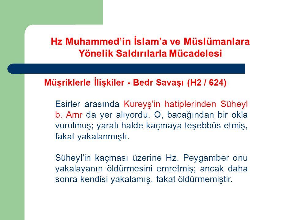 Hz Muhammed'in İslam'a ve Müslümanlara Yönelik Saldırılarla Mücadelesi Müşriklerle İlişkiler - Bedr Savaşı (H2 / 624) Esirler arasında Kureyş'in hatip