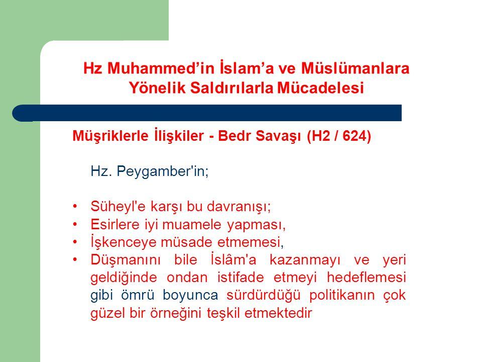 Hz Muhammed'in İslam'a ve Müslümanlara Yönelik Saldırılarla Mücadelesi Müşriklerle İlişkiler - Bedr Savaşı (H2 / 624) Hz. Peygamber'in; Süheyl'e karşı