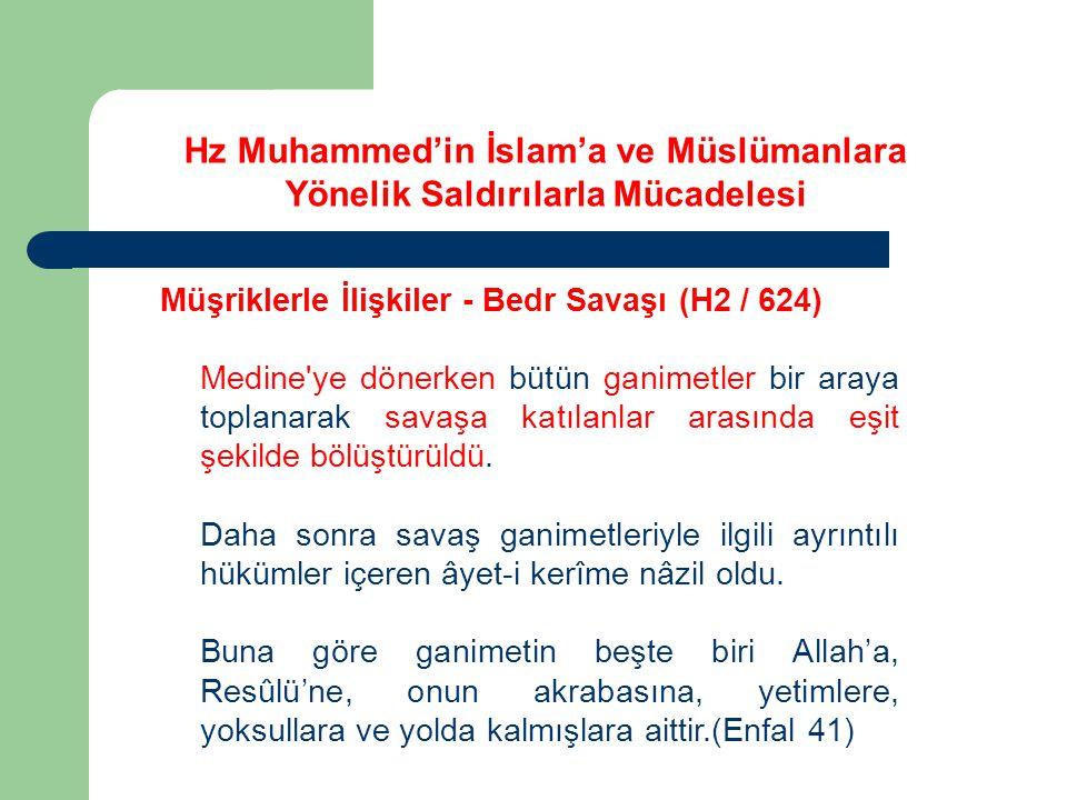 Hz Muhammed'in İslam'a ve Müslümanlara Yönelik Saldırılarla Mücadelesi Müşriklerle İlişkiler - Bedr Savaşı (H2 / 624) Medine'ye dönerken bütün ganimet