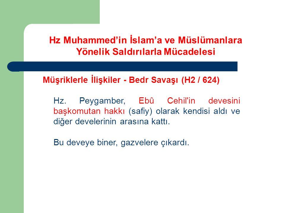 Hz Muhammed'in İslam'a ve Müslümanlara Yönelik Saldırılarla Mücadelesi Müşriklerle İlişkiler - Bedr Savaşı (H2 / 624) Hz. Peygamber, Ebû Cehil'in deve