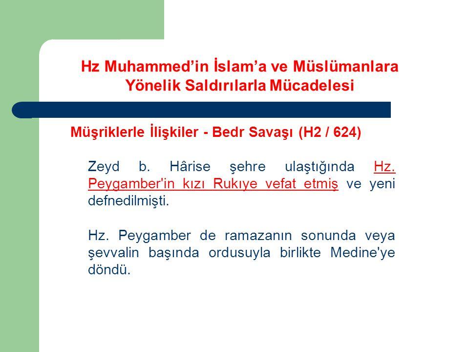 Hz Muhammed'in İslam'a ve Müslümanlara Yönelik Saldırılarla Mücadelesi Müşriklerle İlişkiler - Bedr Savaşı (H2 / 624) Zeyd b. Hârise şehre ulaştığında