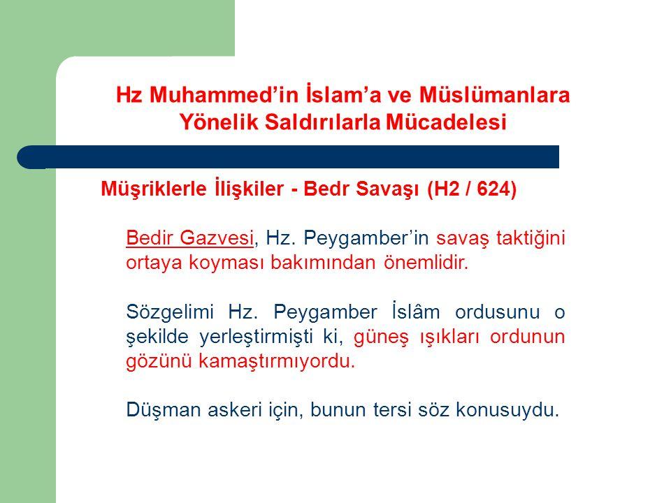 Hz Muhammed'in İslam'a ve Müslümanlara Yönelik Saldırılarla Mücadelesi Müşriklerle İlişkiler - Bedr Savaşı (H2 / 624) Bedir Gazvesi, Hz. Peygamber'in