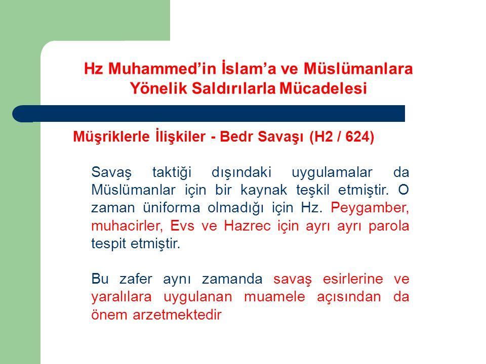 Hz Muhammed'in İslam'a ve Müslümanlara Yönelik Saldırılarla Mücadelesi Müşriklerle İlişkiler - Bedr Savaşı (H2 / 624) Savaş taktiği dışındaki uygulama