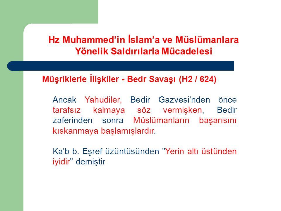 Hz Muhammed'in İslam'a ve Müslümanlara Yönelik Saldırılarla Mücadelesi Müşriklerle İlişkiler - Bedr Savaşı (H2 / 624) Ancak Yahudiler, Bedir Gazvesi'n