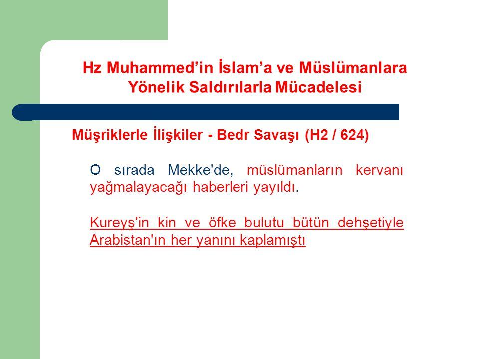 Hz Muhammed'in İslam'a ve Müslümanlara Yönelik Saldırılarla Mücadelesi Müşriklerle İlişkiler - Bedr Savaşı (H2 / 624) O sırada Mekke'de, müslümanların