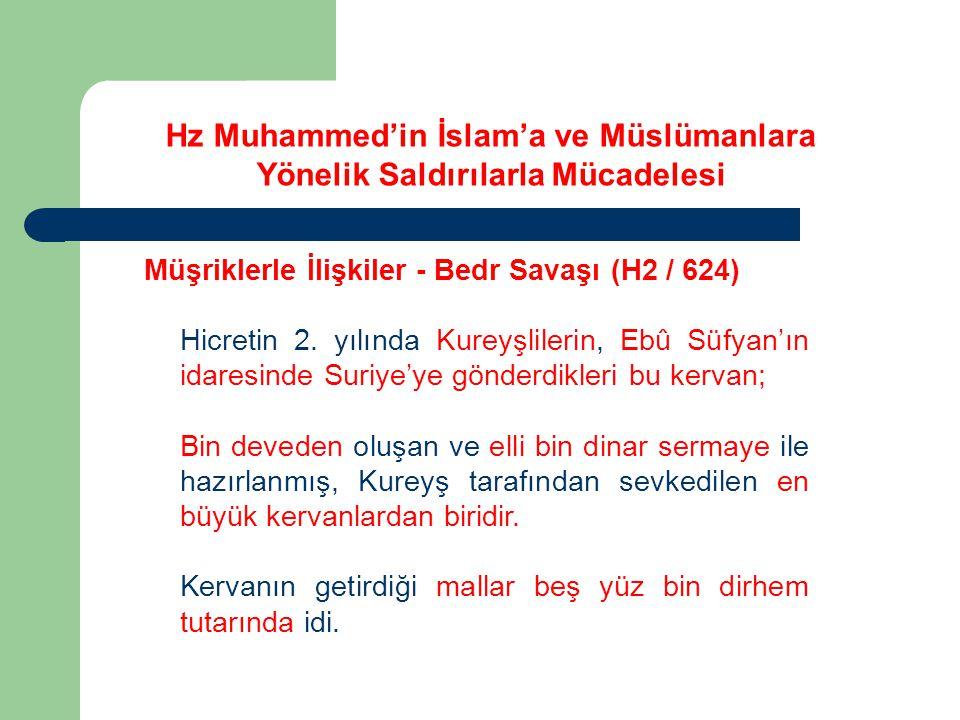 Hz Muhammed'in İslam'a ve Müslümanlara Yönelik Saldırılarla Mücadelesi Müşriklerle İlişkiler - Bedr Savaşı (H2 / 624) Hicretin 2. yılında Kureyşlileri