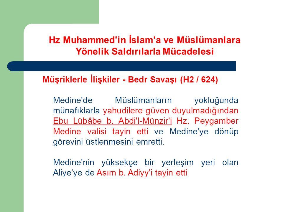 Hz Muhammed'in İslam'a ve Müslümanlara Yönelik Saldırılarla Mücadelesi Müşriklerle İlişkiler - Bedr Savaşı (H2 / 624) Medine'de Müslümanların yokluğun