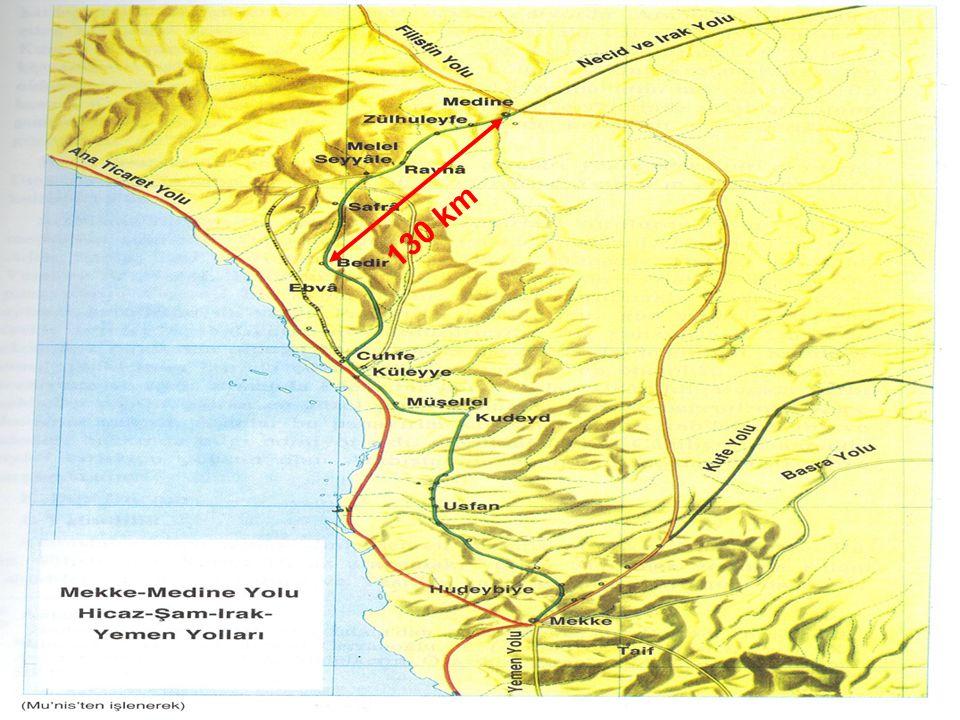 Hz Muhammed'in İslam'a ve Müslümanlara Yönelik Saldırılarla Mücadelesi Müşriklerle İlişkiler - Bedr Savaşı (H2 / 624) Kureyş ordusu, kervanın sahil yolunu takip edeceğini bilemediğinden, kervanın geleceği normal yolu takip ediyordu.