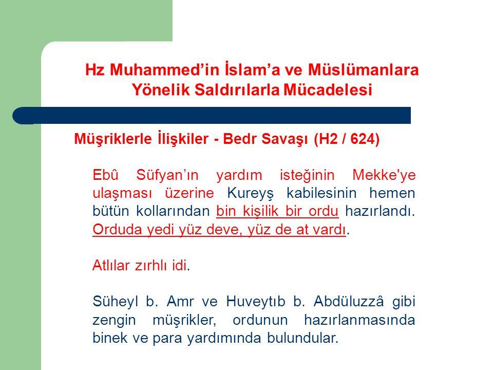 Hz Muhammed'in İslam'a ve Müslümanlara Yönelik Saldırılarla Mücadelesi Müşriklerle İlişkiler - Bedr Savaşı (H2 / 624) Ebû Süfyan'ın yardım isteğinin M