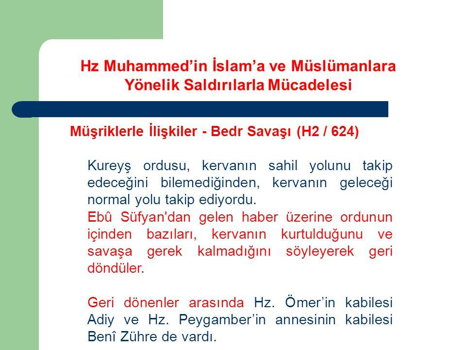 Hz Muhammed'in İslam'a ve Müslümanlara Yönelik Saldırılarla Mücadelesi Müşriklerle İlişkiler - Bedr Savaşı (H2 / 624) Kureyş ordusu, kervanın sahil yo