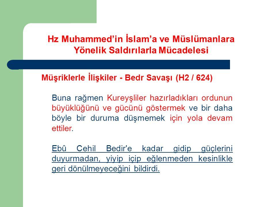 Hz Muhammed'in İslam'a ve Müslümanlara Yönelik Saldırılarla Mücadelesi Müşriklerle İlişkiler - Bedr Savaşı (H2 / 624) Buna rağmen Kureyşliler hazırlad