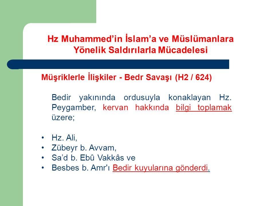 Hz Muhammed'in İslam'a ve Müslümanlara Yönelik Saldırılarla Mücadelesi Müşriklerle İlişkiler - Bedr Savaşı (H2 / 624) Bedir yakınında ordusuyla konakl