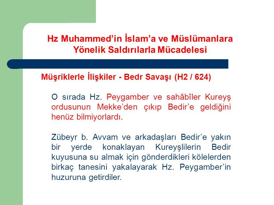 Hz Muhammed'in İslam'a ve Müslümanlara Yönelik Saldırılarla Mücadelesi Müşriklerle İlişkiler - Bedr Savaşı (H2 / 624) O sırada Hz. Peygamber ve sahâbî