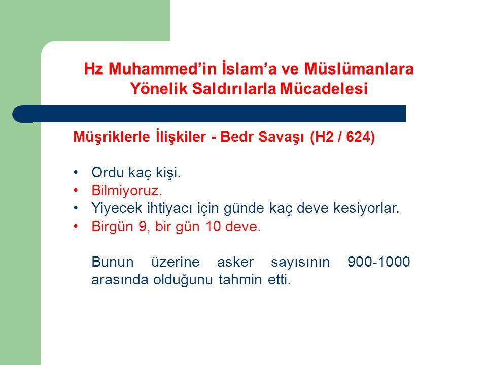 Hz Muhammed'in İslam'a ve Müslümanlara Yönelik Saldırılarla Mücadelesi Müşriklerle İlişkiler - Bedr Savaşı (H2 / 624) Ordu kaç kişi. Bilmiyoruz. Yiyec