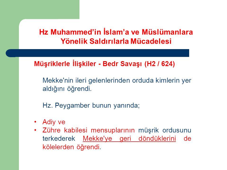 Hz Muhammed'in İslam'a ve Müslümanlara Yönelik Saldırılarla Mücadelesi Müşriklerle İlişkiler - Bedr Savaşı (H2 / 624) Mekke'nin ileri gelenlerinden or