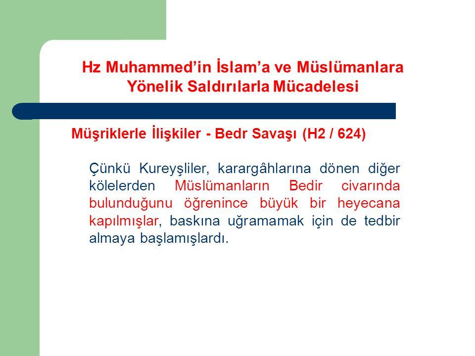 Hz Muhammed'in İslam'a ve Müslümanlara Yönelik Saldırılarla Mücadelesi Müşriklerle İlişkiler - Bedr Savaşı (H2 / 624) Çünkü Kureyşliler, karargâhların