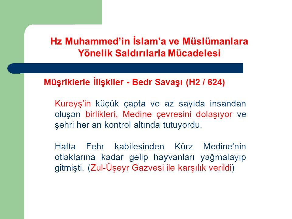 Hz Muhammed'in İslam'a ve Müslümanlara Yönelik Saldırılarla Mücadelesi Müşriklerle İlişkiler - Bedr Savaşı (H2 / 624) Teke tek vuruşmalardan sonra başlayan ve dört veya beş saat süren savaş, ikindiye doğru İslâm ordusunun kesin zaferiyle sonuçlandı.
