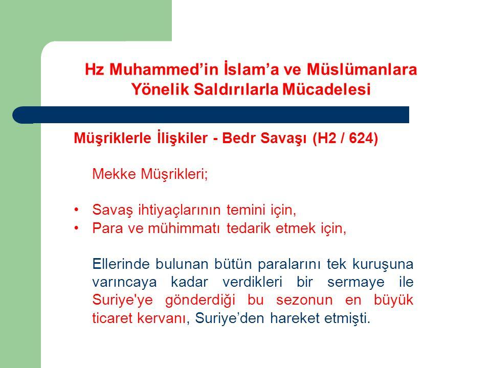 Hz Muhammed'in İslam'a ve Müslümanlara Yönelik Saldırılarla Mücadelesi Müşriklerle İlişkiler - Bedr Savaşı (H2 / 624) Bunun üzerine geri dönerek; Abbas, Nevfel, Tâlib ve Akîl i almışlar ve zorla götürmüşlerdir.