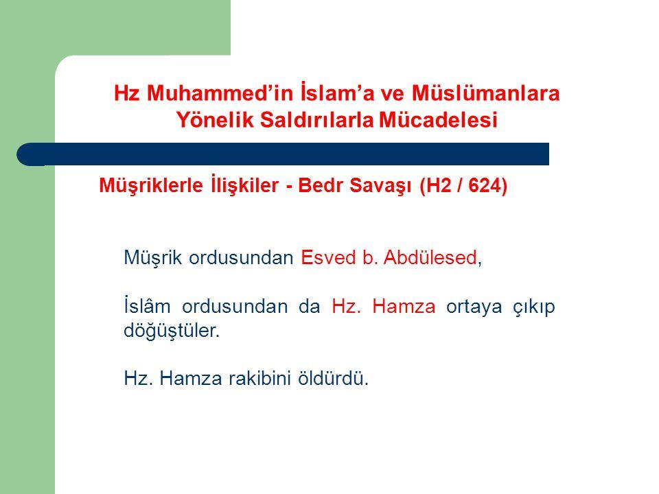 Hz Muhammed'in İslam'a ve Müslümanlara Yönelik Saldırılarla Mücadelesi Müşriklerle İlişkiler - Bedr Savaşı (H2 / 624) Müşrik ordusundan Esved b. Abdül