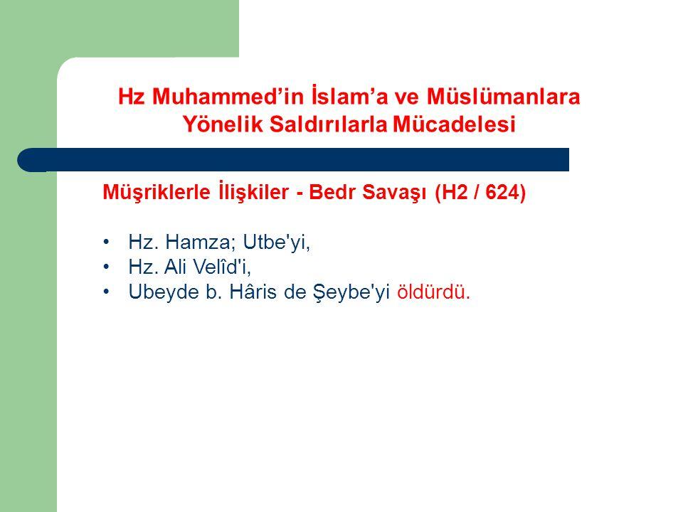 Hz Muhammed'in İslam'a ve Müslümanlara Yönelik Saldırılarla Mücadelesi Müşriklerle İlişkiler - Bedr Savaşı (H2 / 624) Hz. Hamza; Utbe'yi, Hz. Ali Velî