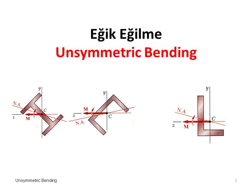 Unsymmetric Bending22 b=60 mm x y h=80 mm F=10 kN M A B TE A ve B noktalarındaki gerilmeler:
