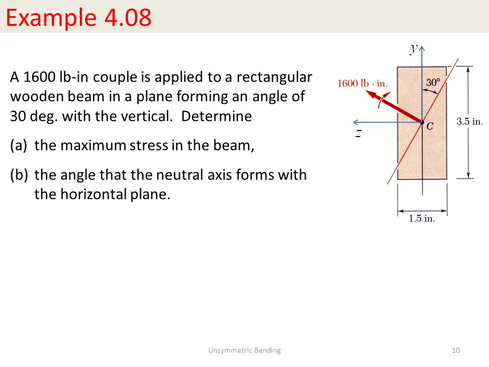 Example 4.08 A 1600 lb-in couple is applied to a rectangular wooden beam in a plane forming an angle of 30 deg.