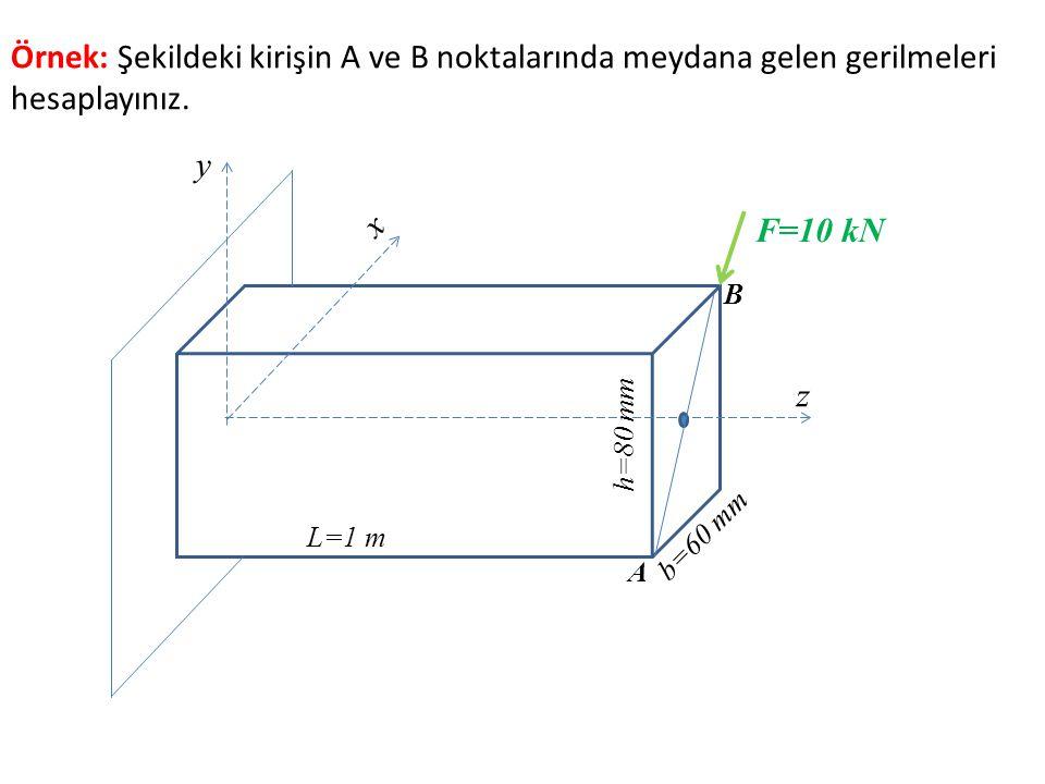 z x y b=60 mm h=80 mm L=1 m F=10 kN A B Örnek: Şekildeki kirişin A ve B noktalarında meydana gelen gerilmeleri hesaplayınız.