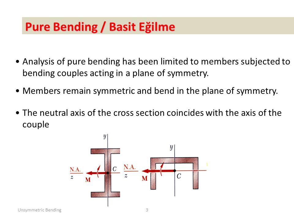 Unsymmetric Bending44 Örnek: Yükleme durumu ve kesiti görülen kirişin A, B ve C noktalarında meydana gelen gerilmeleri hesaplayınız ve σ em =200 MPa için kirişin kontrolünü yapınız.