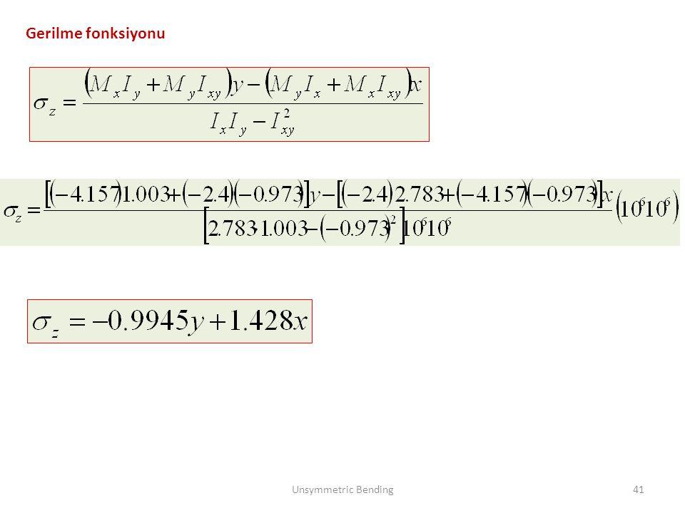 Gerilme fonksiyonu Unsymmetric Bending41