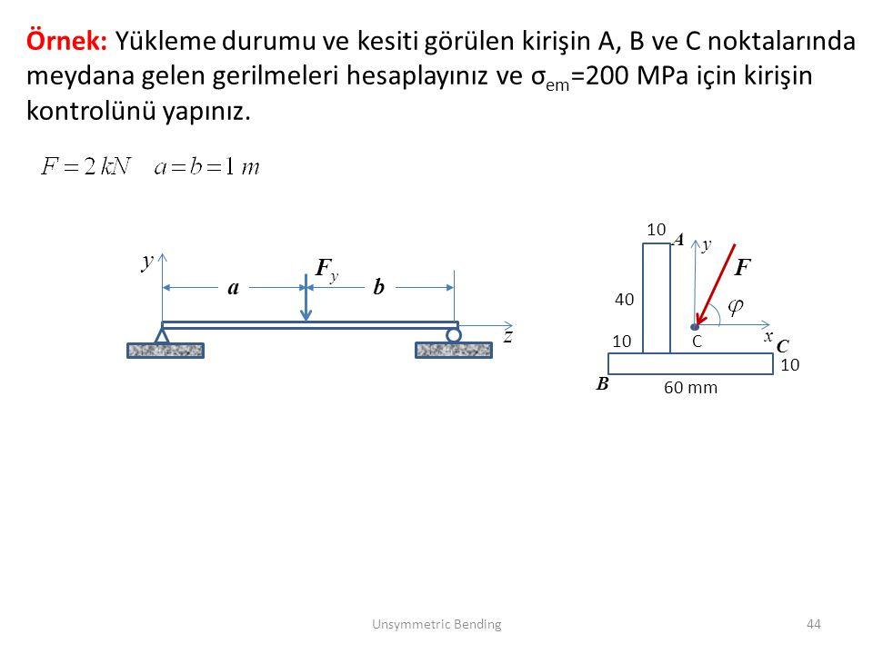 Unsymmetric Bending44 Örnek: Yükleme durumu ve kesiti görülen kirişin A, B ve C noktalarında meydana gelen gerilmeleri hesaplayınız ve σ em =200 MPa i