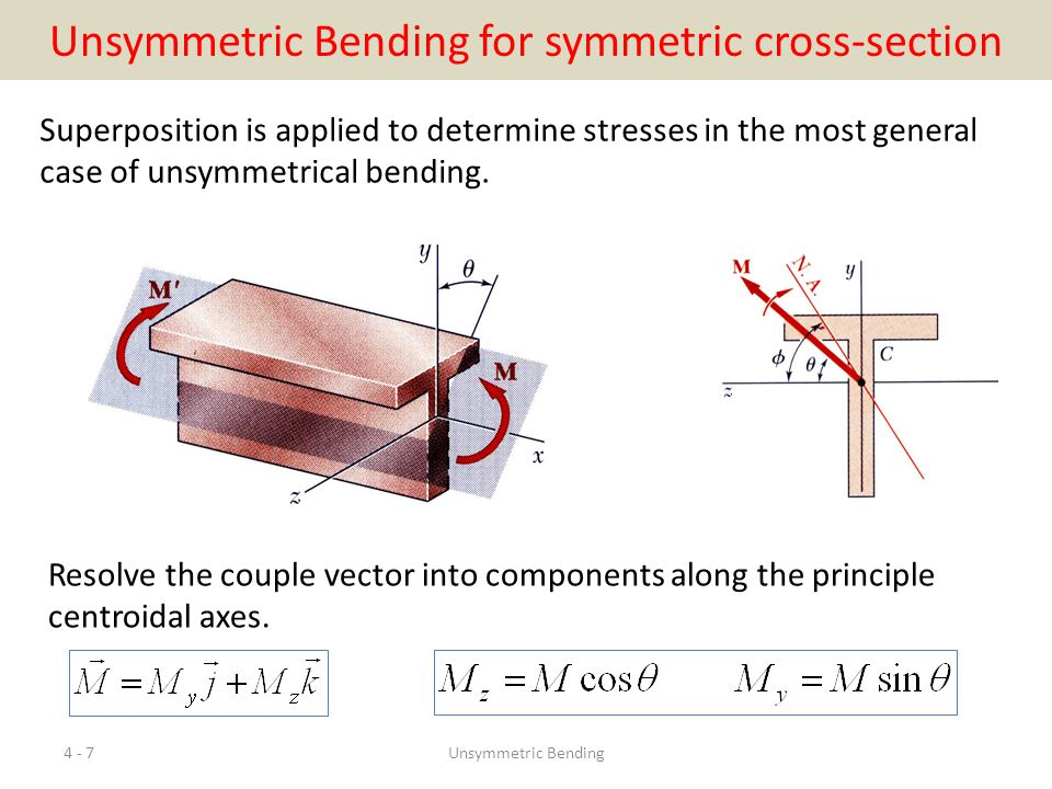 Örnek: şekildeki 'L' kesitli kirişin C noktasına P=4 kN luk eğik bir kuvvet uygulanmaktadır.