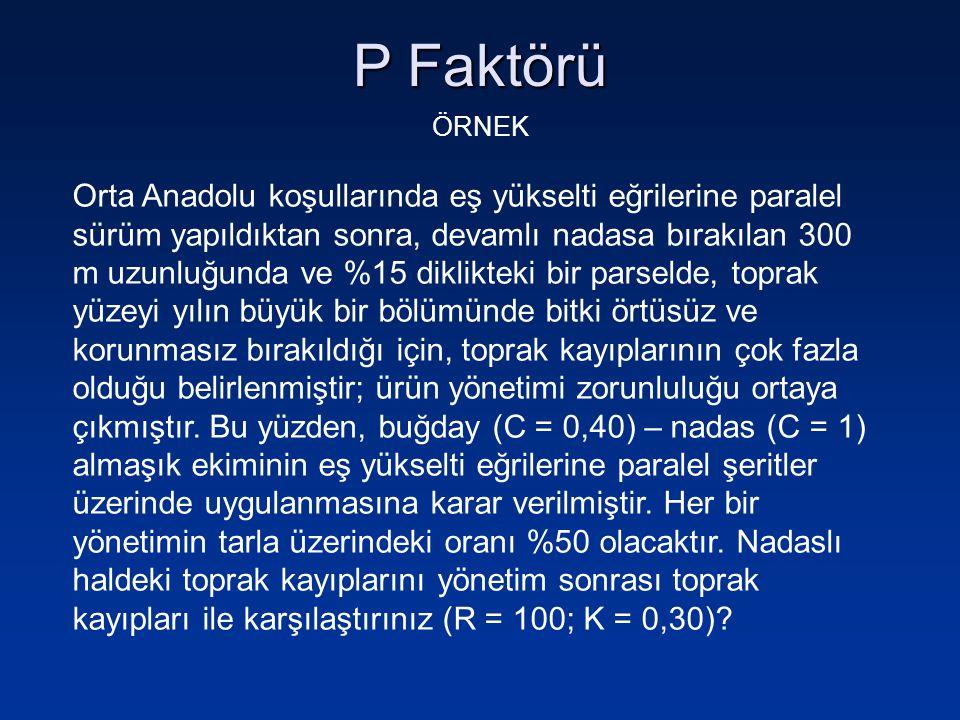 P Faktörü ÖRNEK Orta Anadolu koşullarında eş yükselti eğrilerine paralel sürüm yapıldıktan sonra, devamlı nadasa bırakılan 300 m uzunluğunda ve %15 di