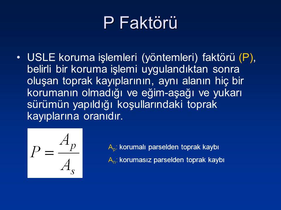 P Faktörü USLE koruma işlemleri (yöntemleri) faktörü (P), belirli bir koruma işlemi uygulandıktan sonra oluşan toprak kayıplarının, aynı alanın hiç bi